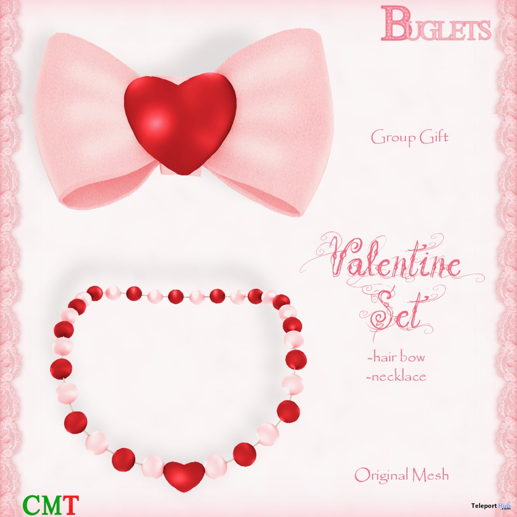 Valentine Set Hair Bow & Necklace February 2018 Group Gift by Buglets - Teleport Hub - teleporthub.com