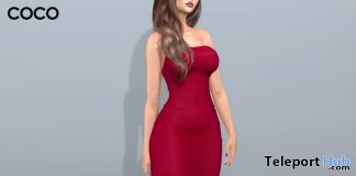 Stretch Tube Dress Berry Red February 2018 Group Gift by COCO Designs - Teleport Hub - teleporthub.com
