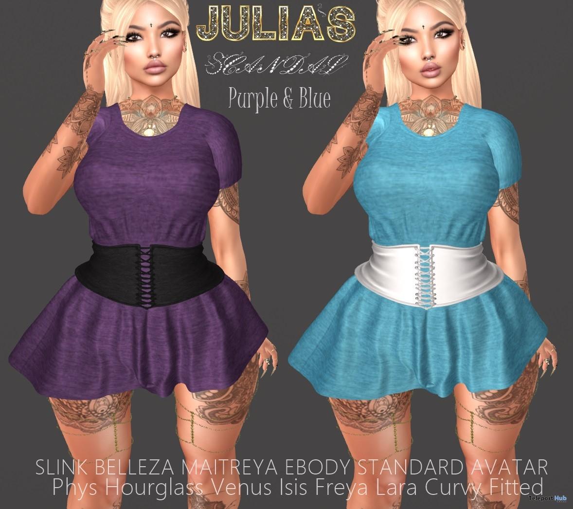 Sophia Dress Blue & Purple February 2018 Group Gift by Julia's Scandal- Teleport Hub - teleporthub.com