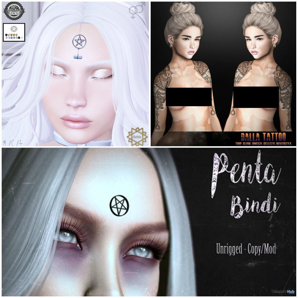 Pentagtam Bindi, Tattoo, & Pentacle Head Chain,The Coven February 2018 Round Gifts by Various Designers - Teleport Hub - teleporthub.com