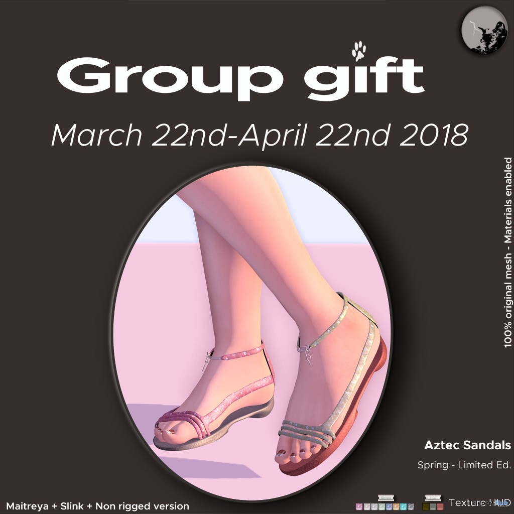 Aztec Sandals Spring Edition March 2018 Group Gift by Petit Chat - Teleport Hub - teleporthub.com