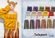 One-shoulder Knit & Flower Pattern Mimollet Skirt 125L Promo by {amiable} - Teleport Hub - teleporthub.com