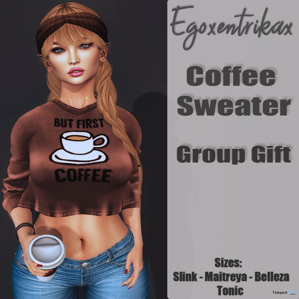 Coffee Sweater April 2018 Group Gift by Egoxentrikax - Teleport Hub - teleporthub.com