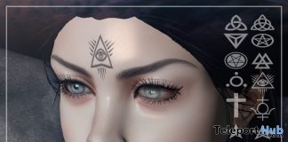 Occult Symbols Face Tattoo March 2018 Group Gift by Psycho Barbie - Teleport Hub - teleporthub.com