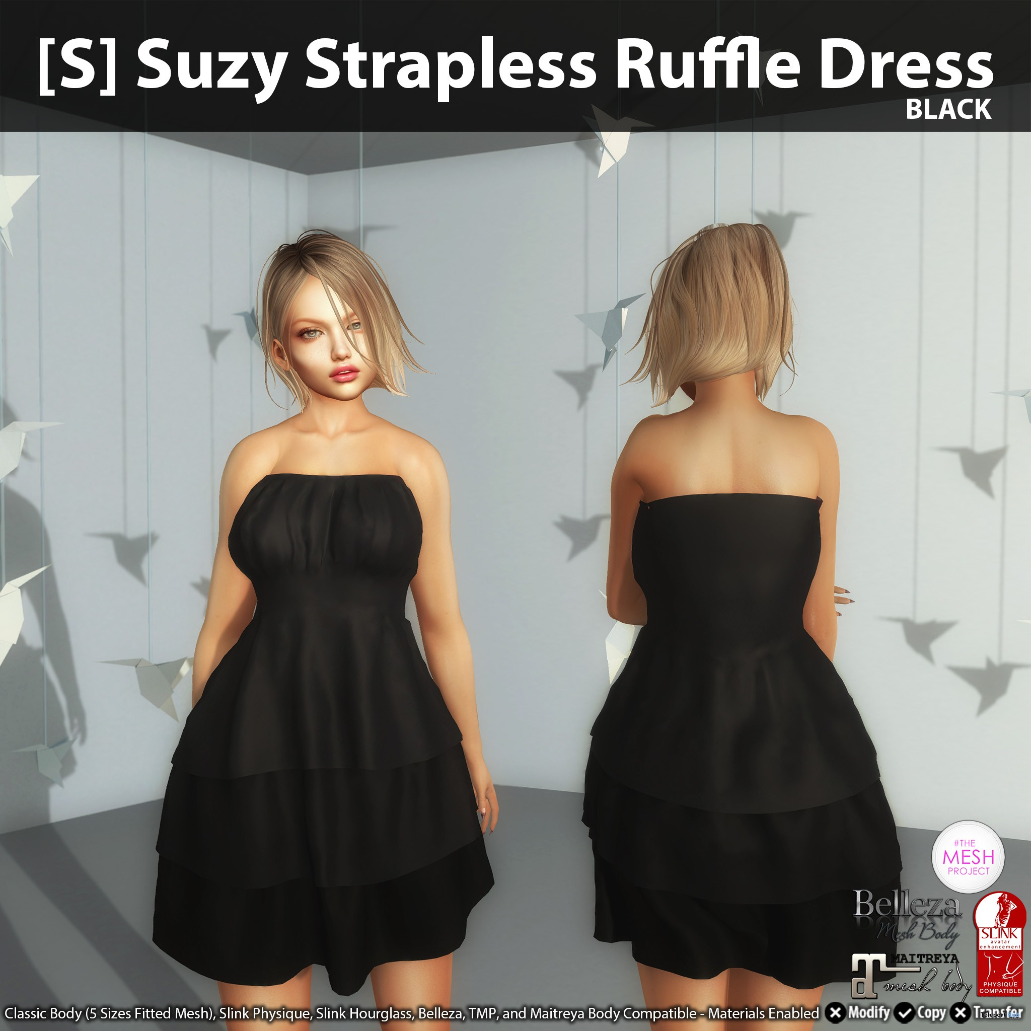 New Release: [S] Suzy Strapless Ruffle Dress by [satus Inc] - Teleport Hub - teleporthub.com