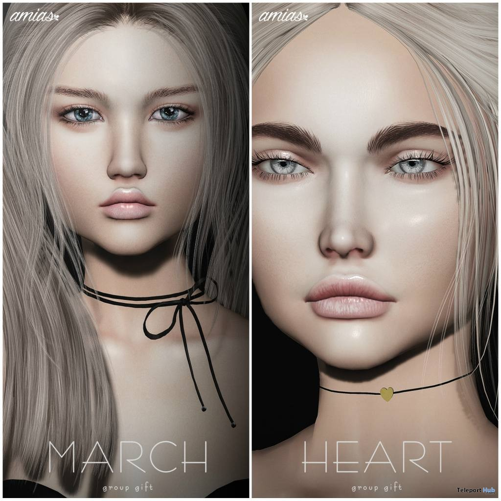 Heart Choker & Necklace March 2018 Group Gift by amias - Teleport Hub - teleporthub.com