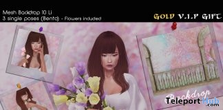 Mesh Backdrop & Flowers Prop April 2018 Group Gift by WetCat - Teleport Hub - teleporthub.com
