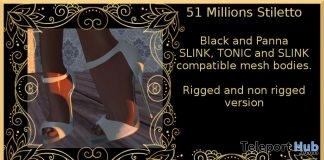51 Millions Stiletto Black & Panna April 2018 Group Gift by MB Content Creators - Teleport Hub - teleporthub.com