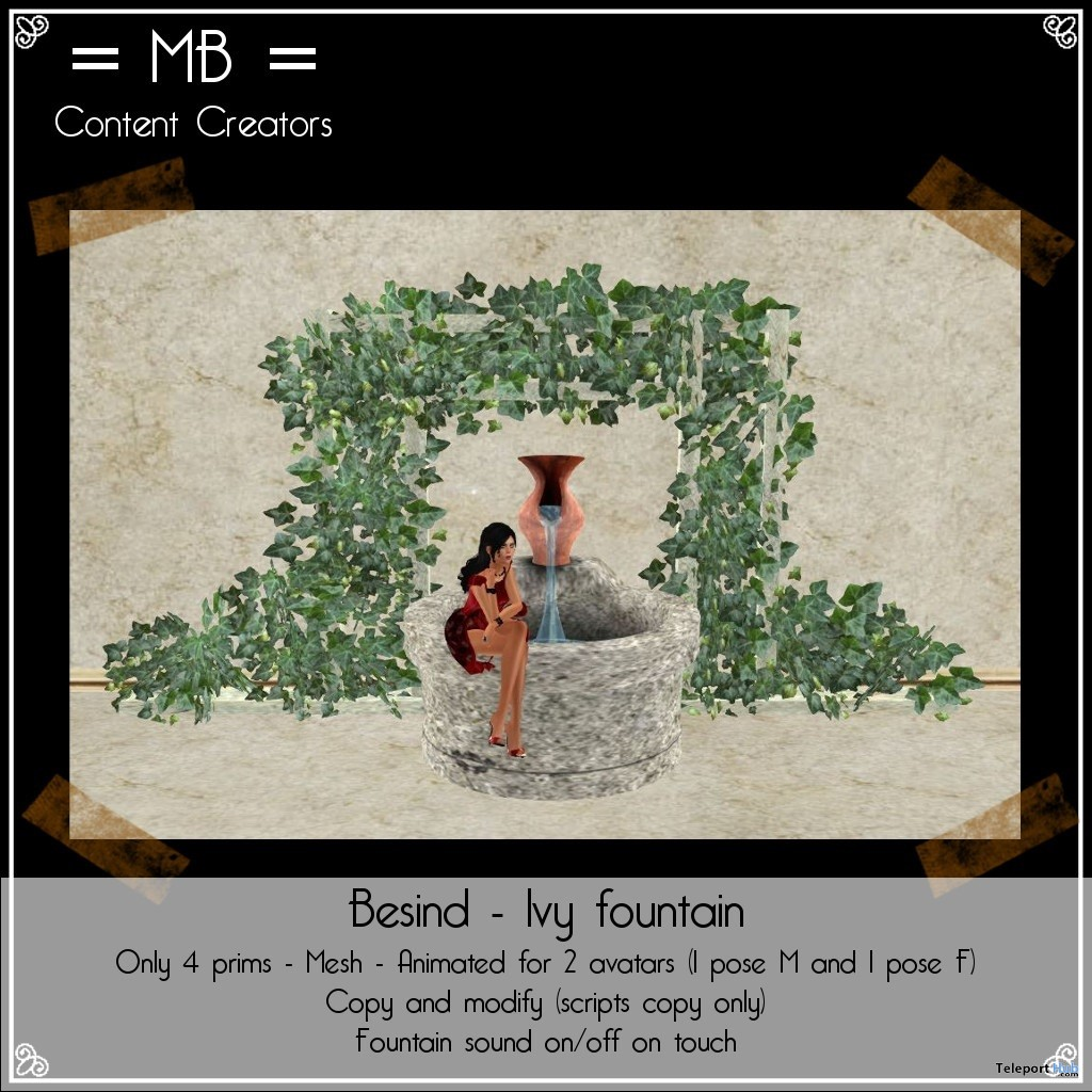 Besind Ivy Fountain April 2018 Group Gift by MB Content Creators - Teleport Hub - teleporthub.com