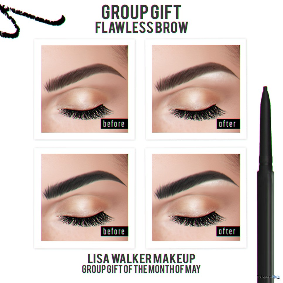 Flawless Brows Applier For Catwa Head May 2018 Group Gift by Lisa Walker Makeup - Teleport Hub - teleporthub.com