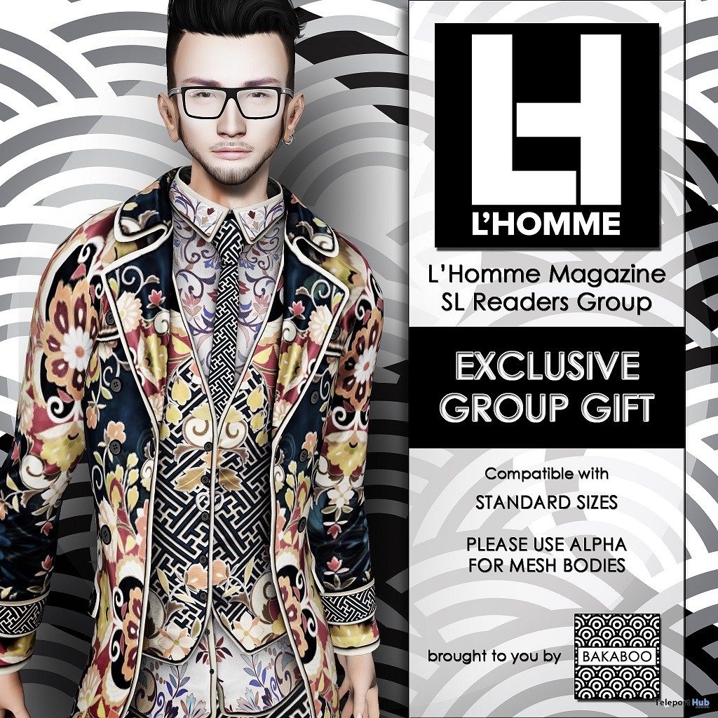 Baka Suit 2 L'HOMME Magazine May 2018 Group Gift by Bakaboo - Teleport Hub - teleporthub.com