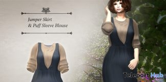 Jumper Skirt & Puff Sleeve Blouse May 2018 Group Gift by S@BBiA - Teleport Hub - teleporthub.com