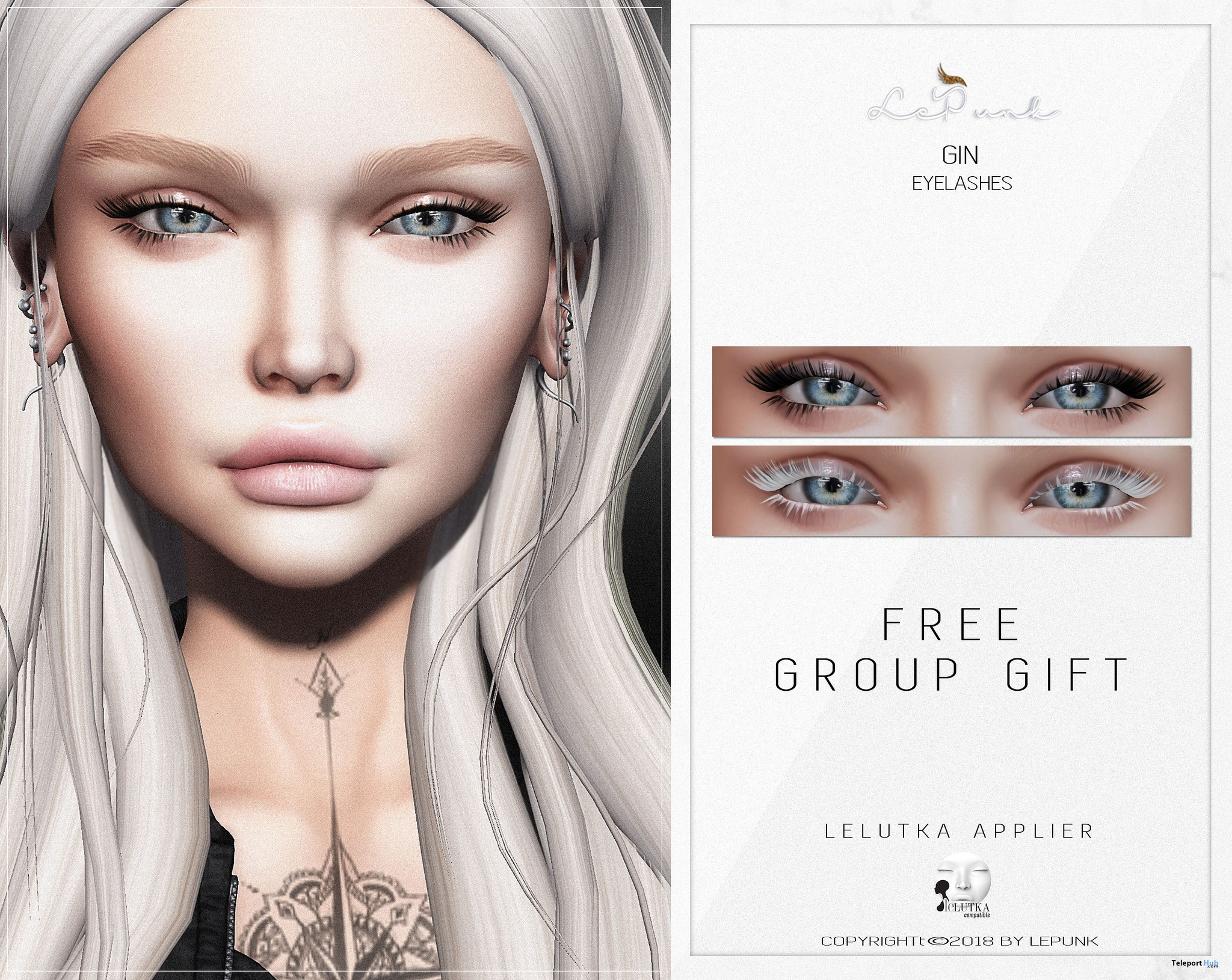 Gin Eyelashes For Lelutka Head May 2018 Group Gift by LePunk - Teleport Hub - teleporthub.com