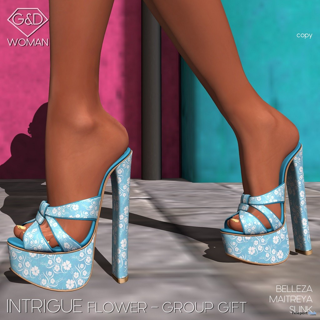 Intrigue Flower Heels May 2018 Group Gift by G&D The Italian Style - Teleport Hub - teleporthub.com