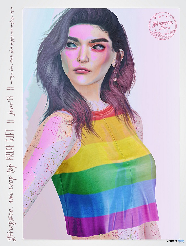 Ami Crop Top Pride Flag Print June 2018 Gift by Stories&Co. - Teleport Hub - teleporthub.com