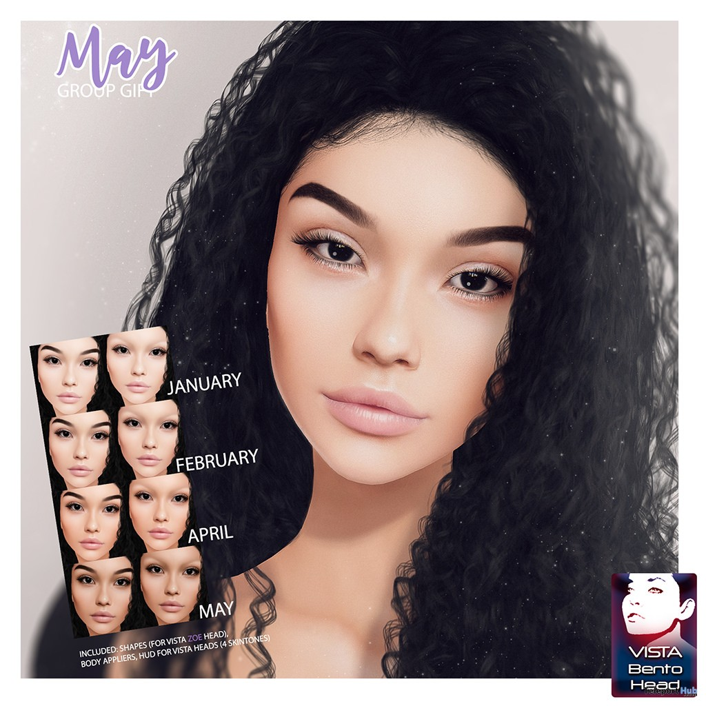 Marissa Skin For Vista Zoe Mesh Head Fatpack May 2018 Group Gift by PUMEC - Teleport Hub - teleporthub.com