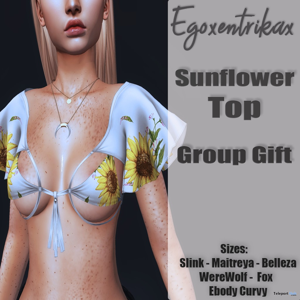 Sunflower Top June 2018 Group Gift by Egoxentrikax - Teleport Hub - teleporthub.com