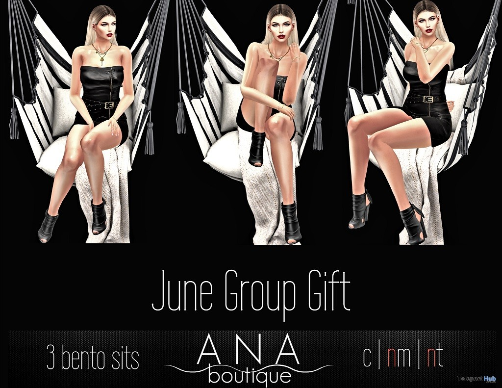Pack of Three Bento Sit Poses June 2018 Group Gift by Ana Boutique - Teleport Hub - teleporthub.com