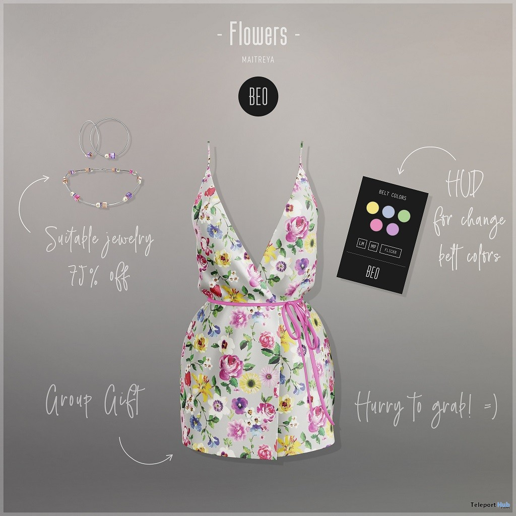 Flowers Dress July 2018 Group Gift by BEO - Teleport Hub - teleporthub.com