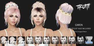 Gwen Hair Fatpack With Style HUD July 2018 Group Gift by TRUTH HAIR - Teleport Hub - teleporthub.com