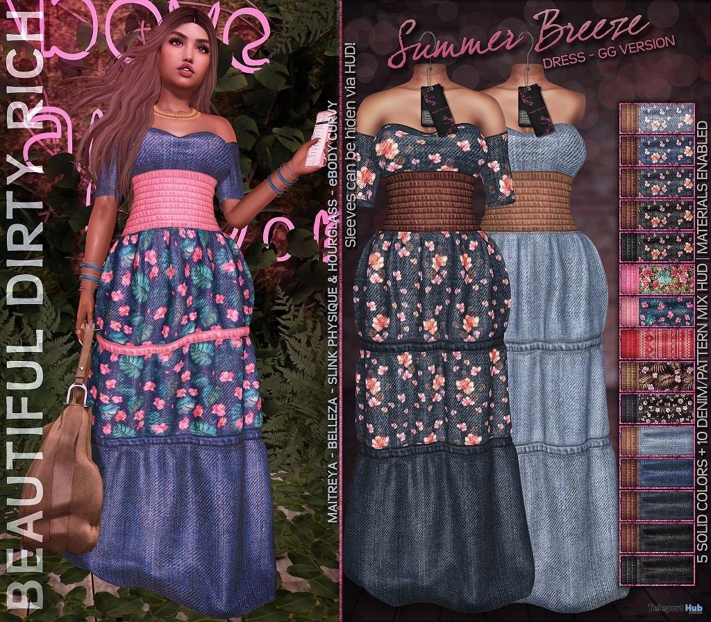 Summer Breeze Dress Fatpack July 2018 Group Gift by Beautiful Dirty Rich - Teleport Hub - teleporthub.com