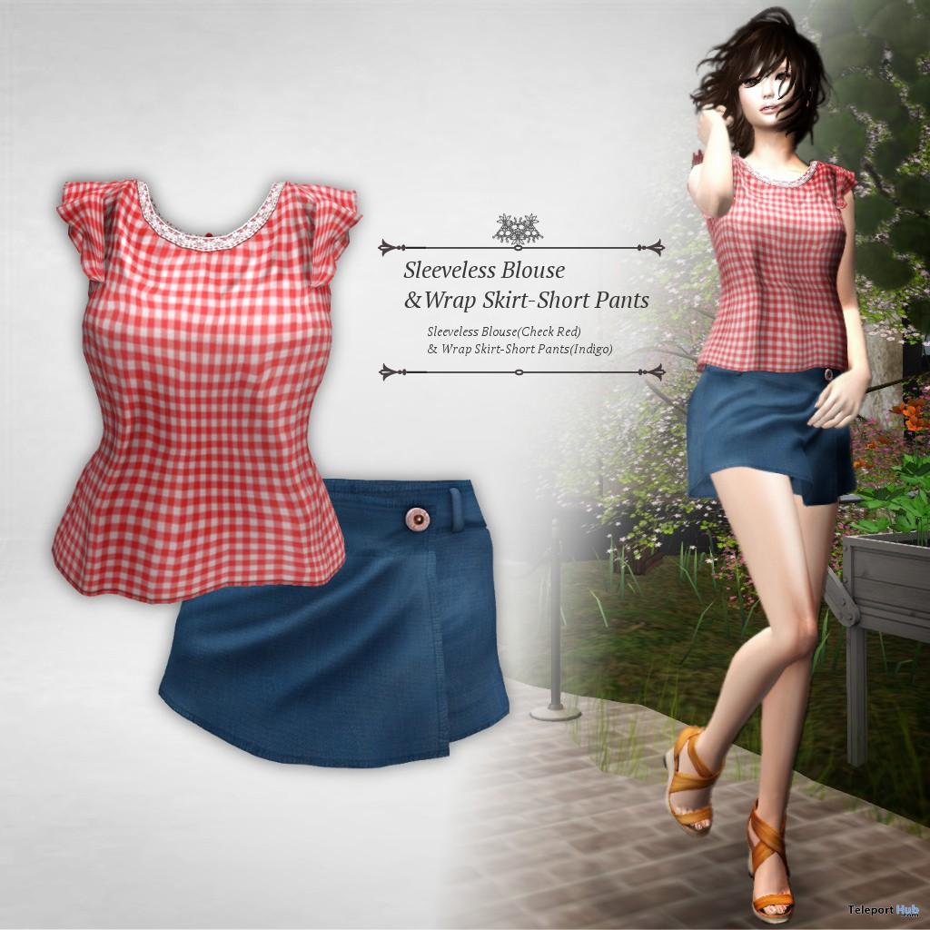 Sleeveless Blouse & Wrap Skirt July 2018 Group Gift by S@BBiA - Teleport Hub - teleporthub.com