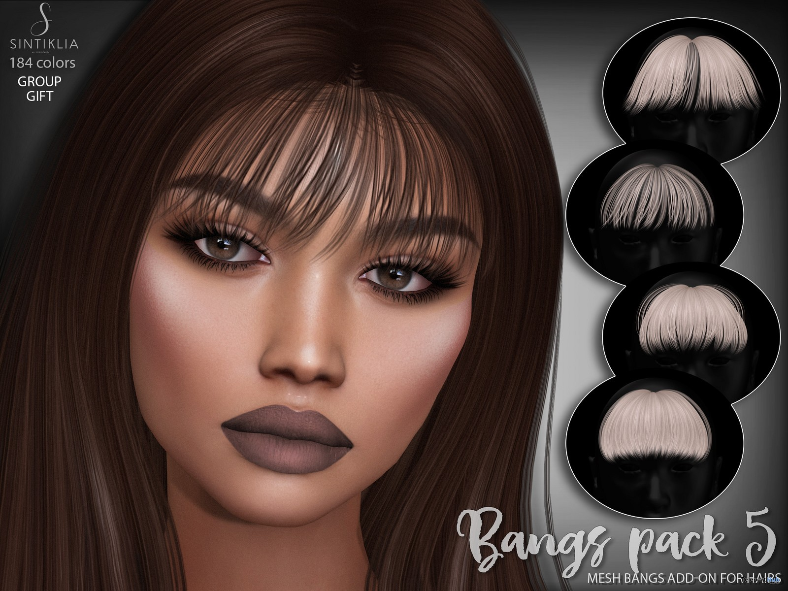 Hair Bangs Pack 5 July 2018 Group Gift by Sintiklia - Teleport Hub - teleporthub.com