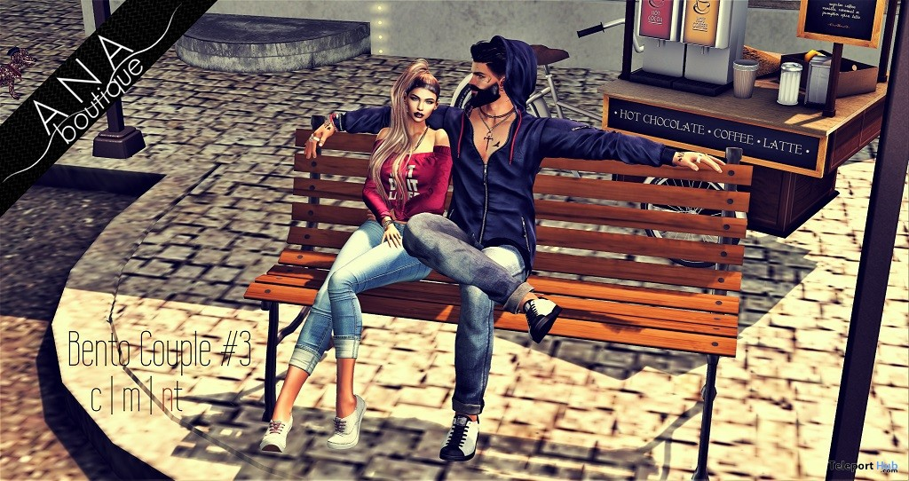Couple Bento Bench Sitting Pose #3 July 2018 Group Gift by Ana Boutique - Teleport Hub - teleporthub.com