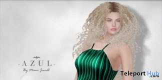 Green Stripes Dress July 2018 Group Gift by AZUL - Teleport Hub - teleporthub.com