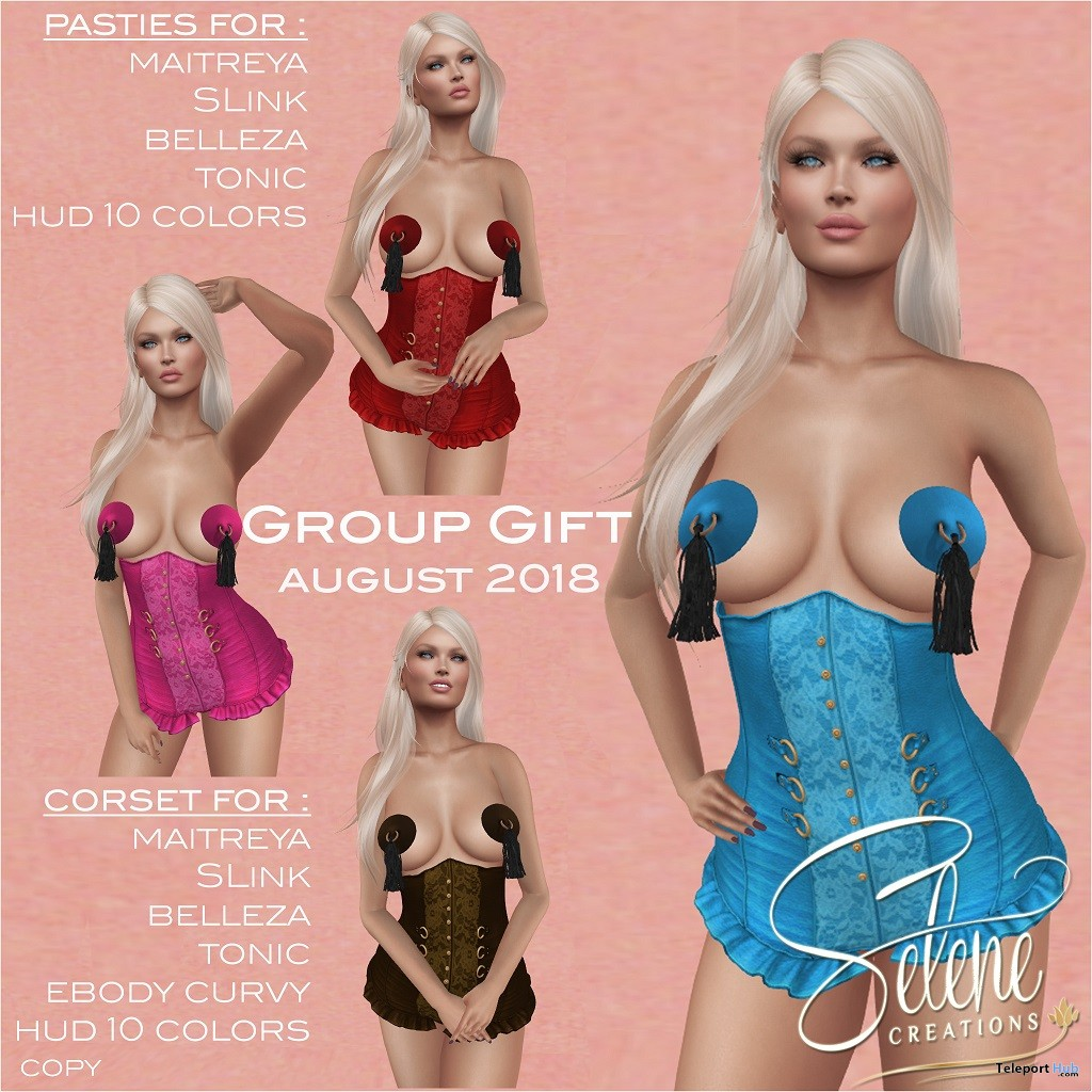 Corset Fatpack August 2018 Group Gift by Selene Creations - Teleport Hub - teleporthub.com