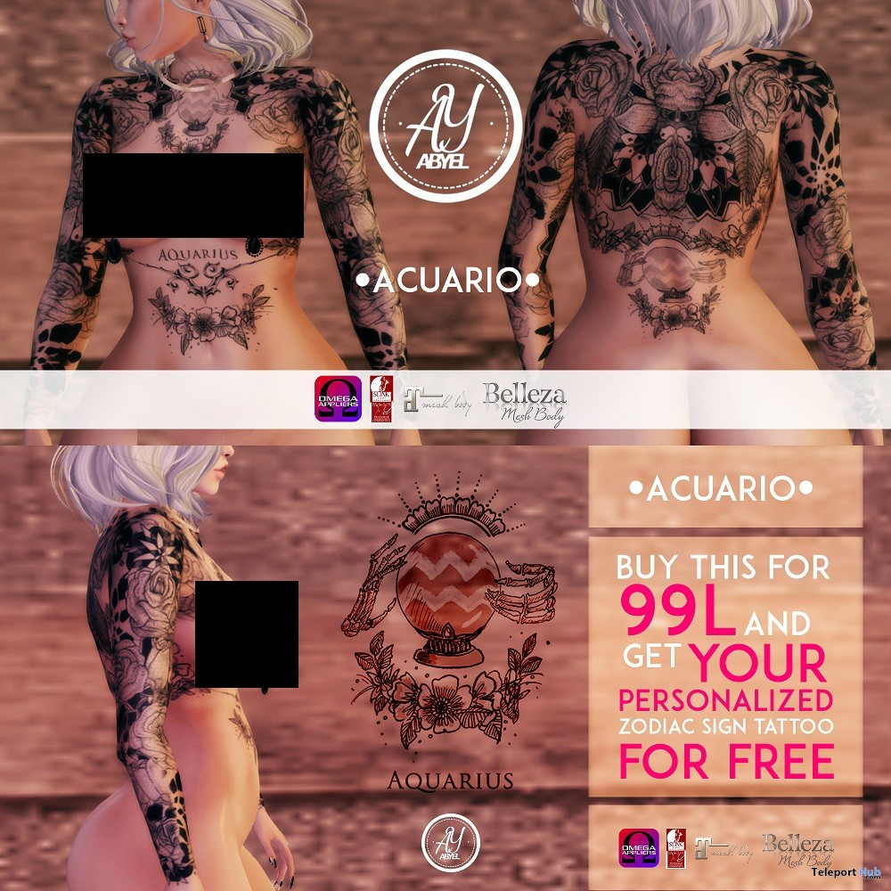 Zodiac Custom Tattoos 99L Promo by ABYEL TATTOOS' STORE @ Up! Event September 2018 - Teleport Hub - teleporthub.com