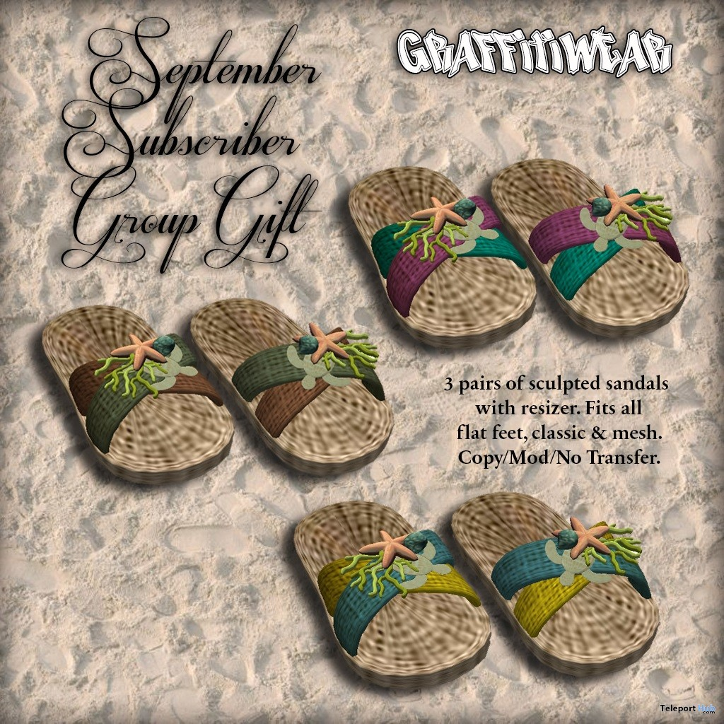 Sea Sandals September 2018 Subscriber Gift by Graffitiwear - Teleport Hub - teleporthub.com