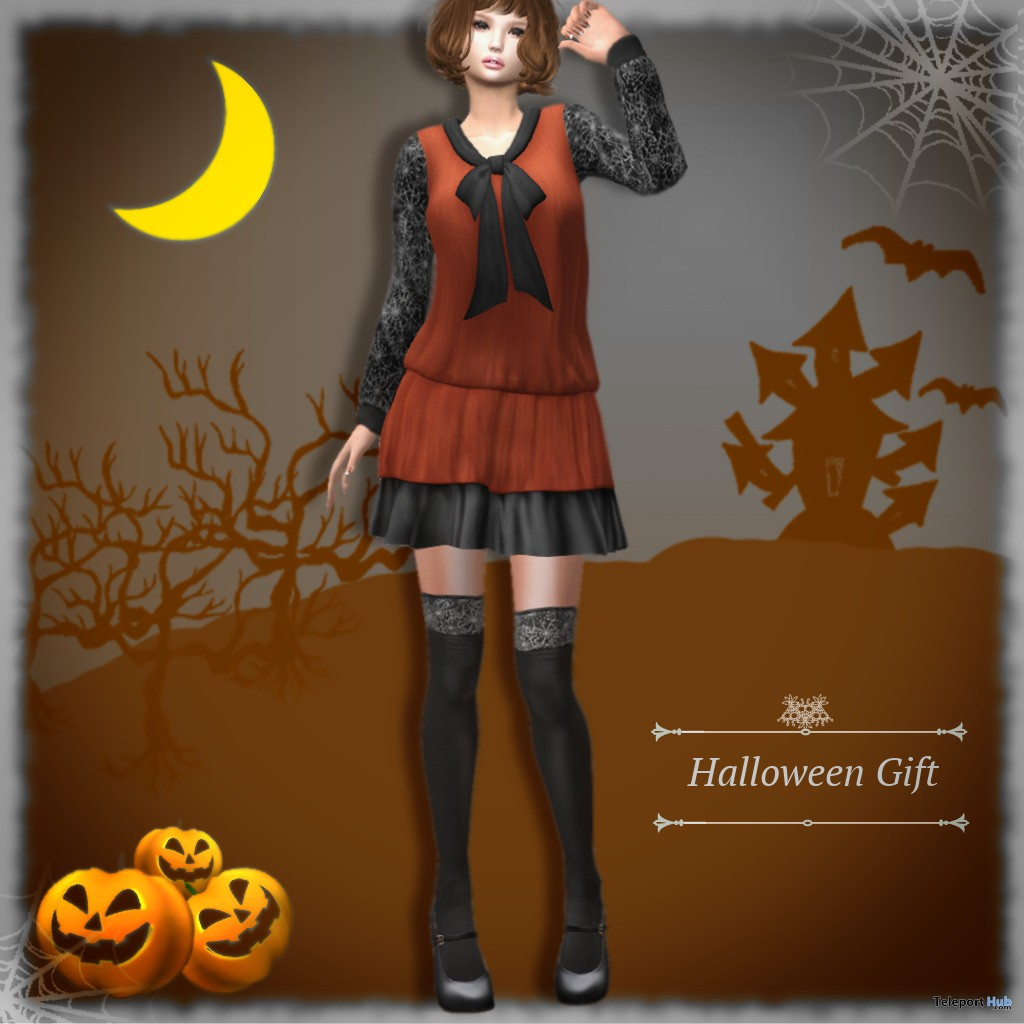 Bow Tie Dress & Chunky Heel Pumps With Socks Halloween 2018 Group Gift by S@BBiA - Teleport Hub - teleporthub.com