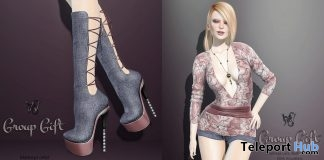 Sarah Outfit & Boots September 2018 Group Gift by Wicca's Wardrobe - Teleport Hub - teleporthub.com