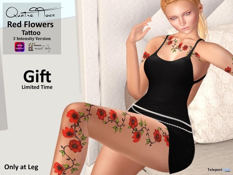 Red Flowers Legs Tattoo September 2018 1L Promo Gift by QuatreTTocs - Teleport Hub - teleporthub.com