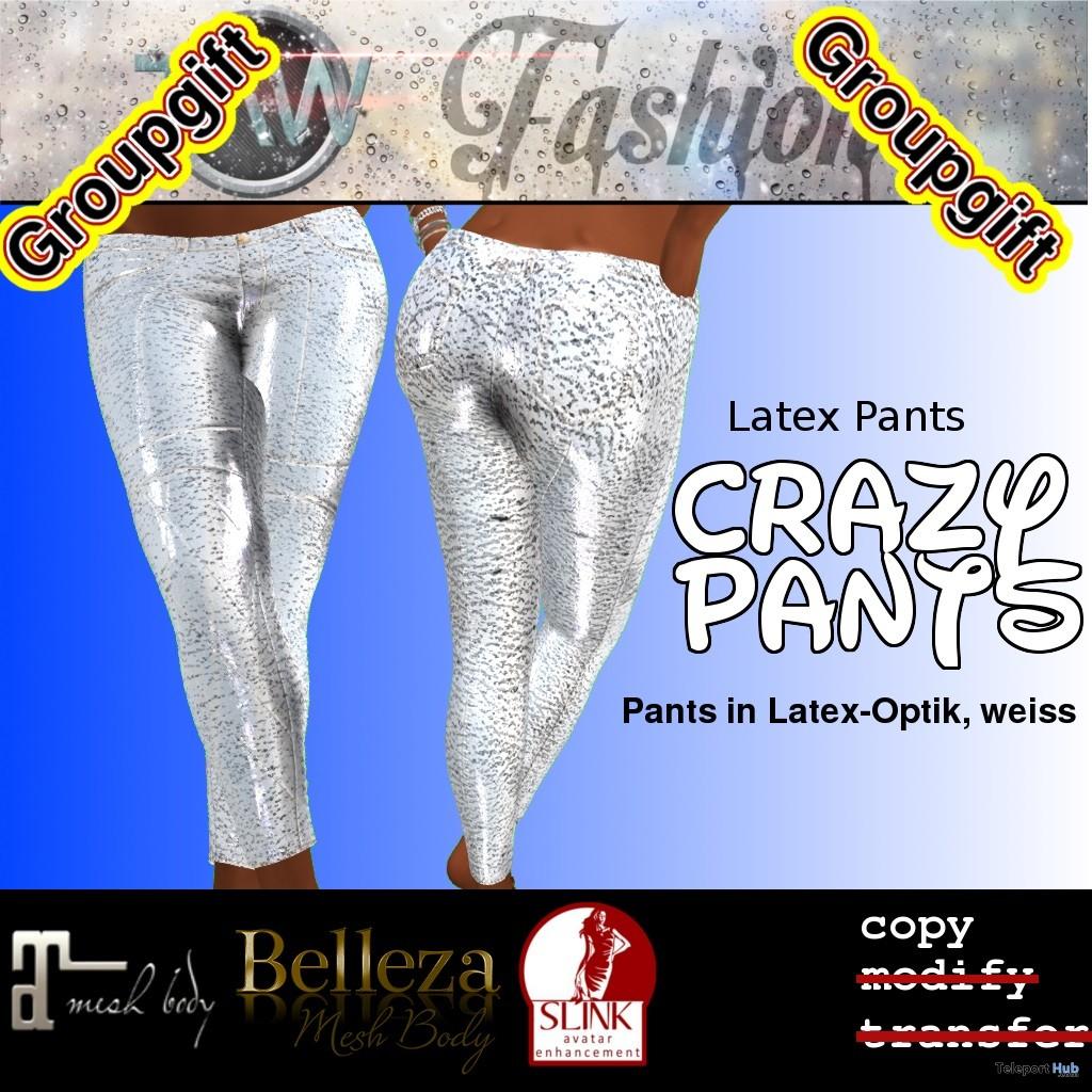Crazy White Latex Pants September 2018 Group Gift by TAW Fashion - Teleport Hub - teleporthub.com
