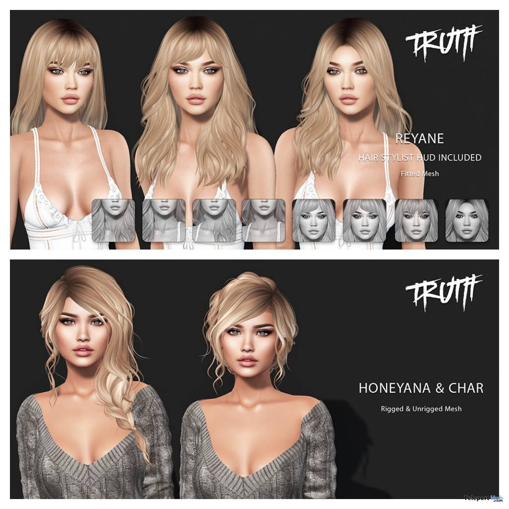 Honey Ana, Char, & Reyane Hair Fatpack September 2018 Group Gift by TRUTH - Teleport Hub - teleporthub.com