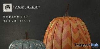 Gold Confetti & Chevron Pumpkins October 2018 Group Gift by Fancy Decor - Teleport Hub - teleporthub.com