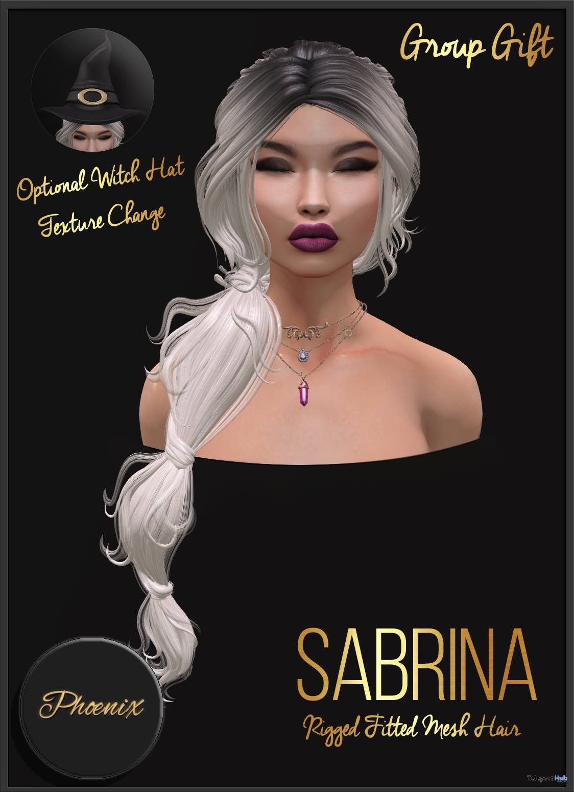 Sabrina Hair Halloween 2018 Group Gift by Phoenix Hair - Teleport Hub - teleporthub.com