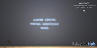 Music Begins Where Language Ends Sign November 2018 Group Gift by MULLOY - Teleport Hub - teleporthub.com