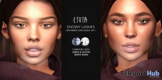 Snowy Lashes for Genus & Lelutka Heads November 2018 Group Gift by LIVIA - Teleport Hub - teleporthub.com