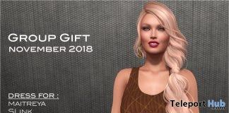 Brown Dress November 2018 Group Gift by Selene Creations - Teleport Hub - teleporthub.com