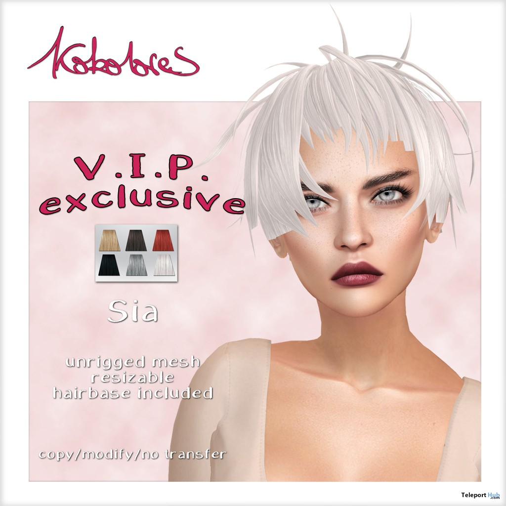 Sia Hair Exclusive Pack November 2018 Group Gift by KoKoLoReS - Teleport Hub - teleporthub.com