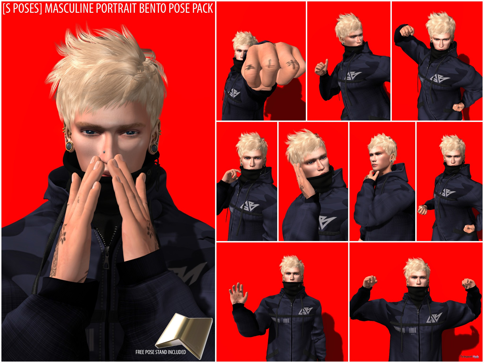 New Release: [S Poses] Masculine Portrait Bento Pose Pack by [satus Inc] - Teleport Hub - teleporthub.com