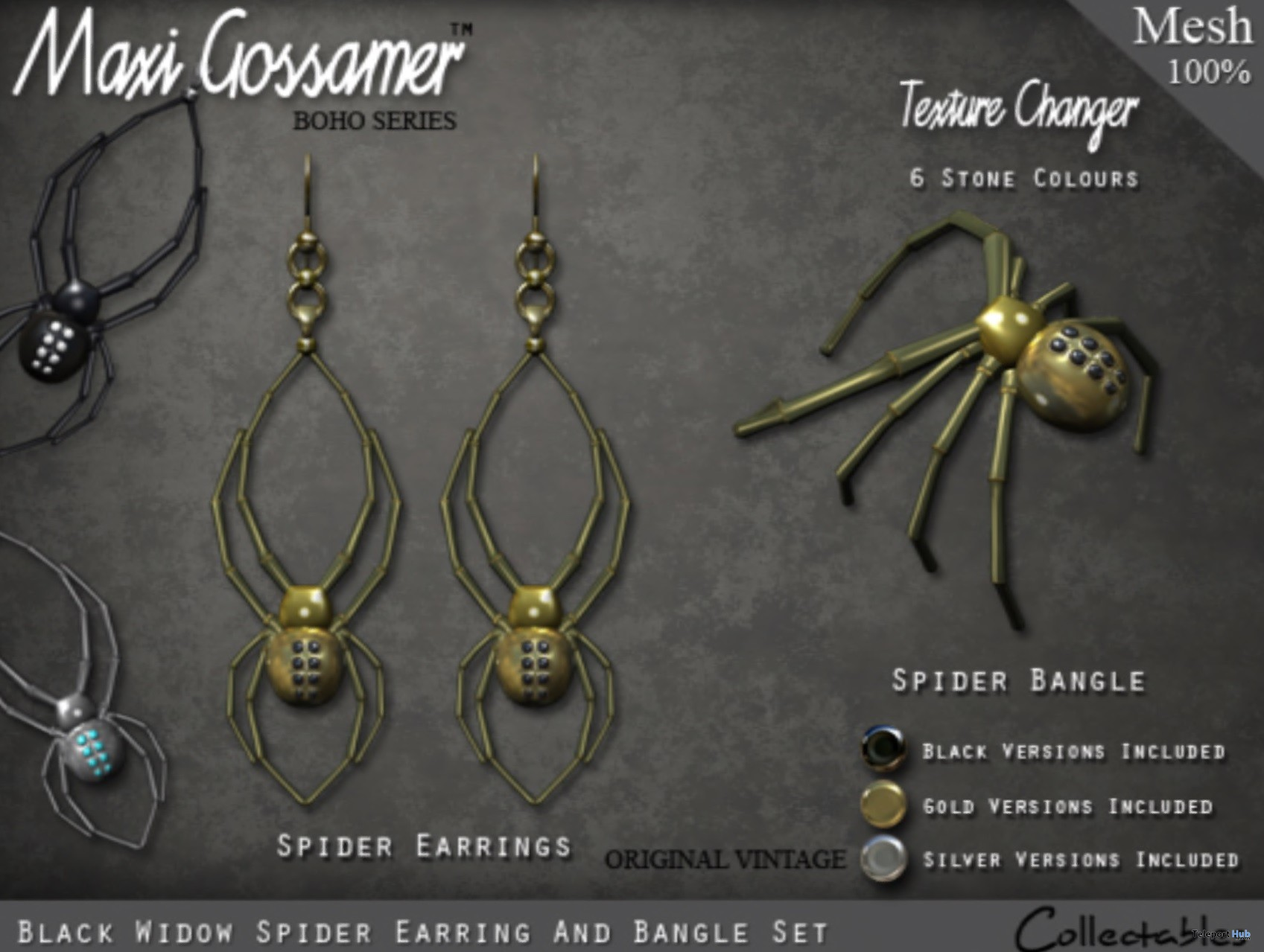 Black Widow Spider Earrings & Bangle Set Group Gift by Maxi Gossamer - Teleport Hub - teleporthub.com