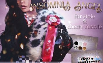 Fur Stole & Cherry Rosette January 2019 Group Gift by Insomnia Angel - Teleport Hub - teleporthub.com