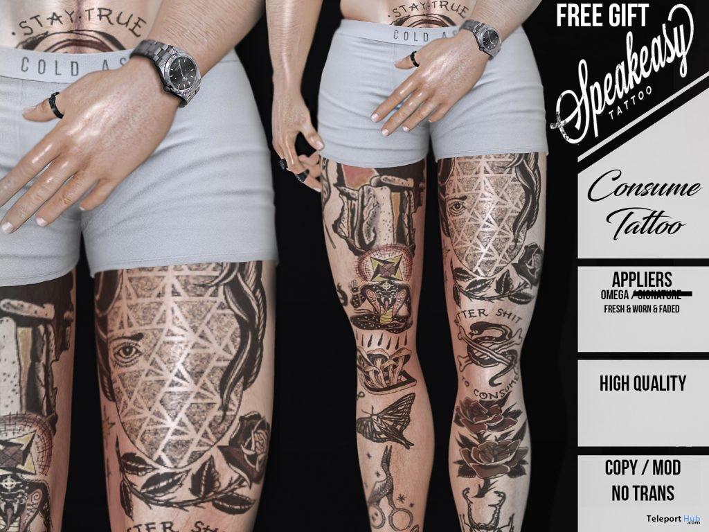 Consume Leg Tattoo Omega Applier December 2018 Gift by Speakeasy - Teleport Hub - teleporthub.com