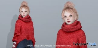Oversized Mohair Sweater Red For MyDoll Avatar December 2018 Group Gift by COCO Designs - Teleport Hub - teleporthub.com