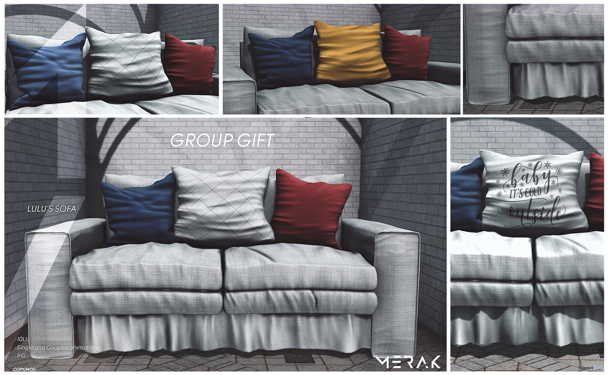 Lulu's Sofa PG Edition December 2018 Group Gift by Merak - Teleport Hub - teleporthub.com