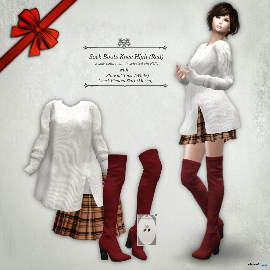 Slit Knit Tops, Skirt, & Boots Christmas 2018 Group Gift by S@BBiA - Teleport Hub - teleporthub.com